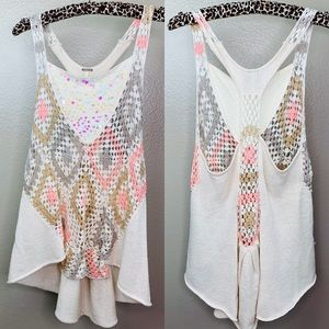 Free people Boho Sequin KnIt Tank Top